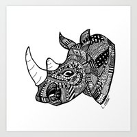 Mandala Aztec black and white Rhino head Art Print