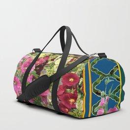 PINK HOLLYHOCKS & YELLOW  BUTTERFLIES TEAL Duffle Bag