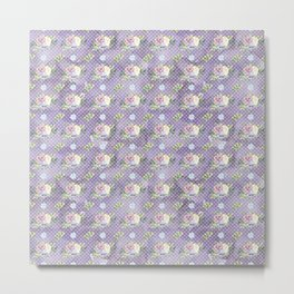 Roses & Forget Me Nots Polka Dotted Puple Metal Print