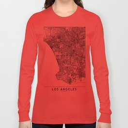 Los Angeles White Map Long Sleeve T-shirt
