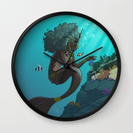 Mermaid Black Wall Clock