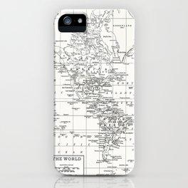 White World Map iPhone Case
