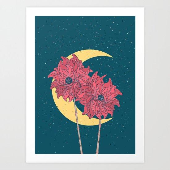 Midnight Flowers Art Print