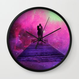 Kiss into the universe Wall Clock