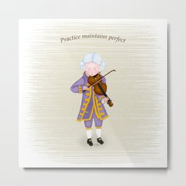 Young Mozart Playing Violin: Practice Maintains Perfect Metal Print
