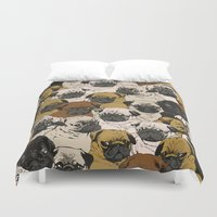 puppy Duvet Covers featuring Social Pugz by Huebucket