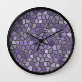 Faux Stone Mosaic in Purples Wall Clock