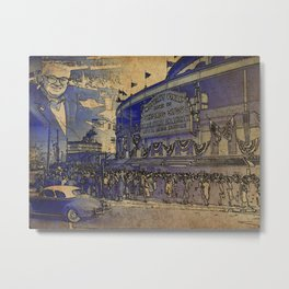Harry Caray and Wrigley Field of yesterday Metal Print