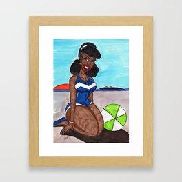 Julie at the beach Framed Art Print