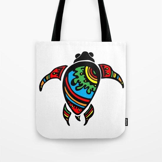 Colorful Abstract Tribal Sea Turtle Tote Bag