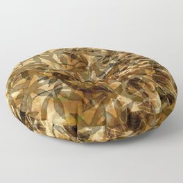 Golden Leaf Shadows Abstract Floor Pillow