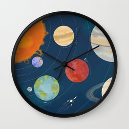 Colorful Watercolor Solar System Wall Clock