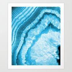 Blue & White Geode Rock Agate Slice Art Print