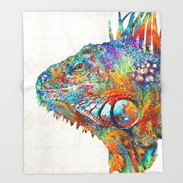 Colorful Iguana Art - One Cool Dude - Sharon Cummings Throw Blanket