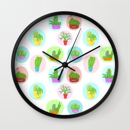 A Collection of Potted Cacti and Succulents With Borders Wall Clock
