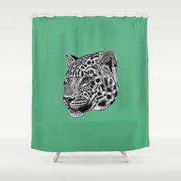 Amur leopard cub - green - big cat Shower Curtain