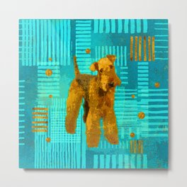 Abstract Airedale Terriers Digital Art Metal Print