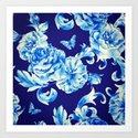 Blue Flowers & Butterflies Pattern by oldurbanfarmhouse