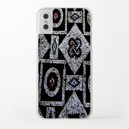 Black White Blue Red Mosaic Print Clear iPhone Case
