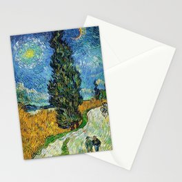 Road with Cypress and Star by Vincent van Gogh Stationery Cards