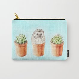 Hedgehog Watercolor Cactus Terra Cotta Pots Carry-All Pouch