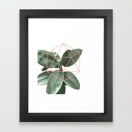 Geometric greenery Framed Art Print