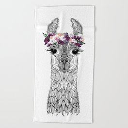 FLOWER GIRL ALPACA Beach Towel