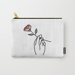 Hand with Rose Carry-All Pouch