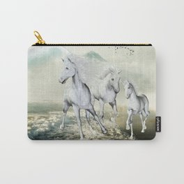 White Horses On The Beach Carry-All Pouch