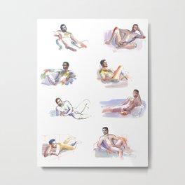 LOUNGE, Nude Men by Frank-Joseph Metal Print