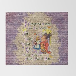 Alice with The Duchess Vintage Dictionary Art Throw Blanket