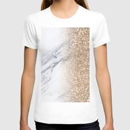 Bronze Copper Gold Glitter White Gray Marble Luxury III T-shirt