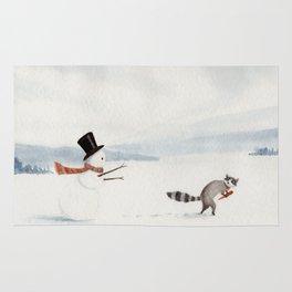 Snowman and Raccoon Rug