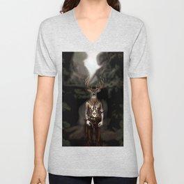 Skinwalker Navajo inspired shapeshifter with deer head Unisex V-Neck