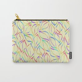 Rainbow Petals on Yellow Carry-All Pouch
