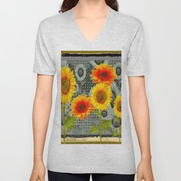 GREY GRUBBY SHABBY CHIC STYLE SUNFLOWERS ART Unisex V-Neck