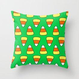 Green Candy Corn Throw Pillow