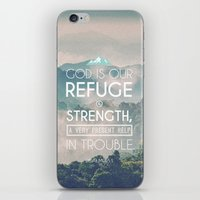 bible verses iPhone & iPod Skins featuring Typographic Motivational Bible Verses - Psalm 46:1 by The Wooden Tree
