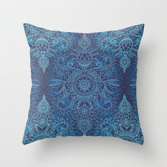 Aqua, Cobalt Blue & Purple Protea Doodle Pattern Throw Pillow