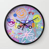 60s Wall Clocks featuring Summer of Love - the 60s by MehrFarbeimLeben