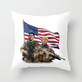Presidential Soldiers: Ronald Reagan & Donald Trump USA Flag Throw Pillow
