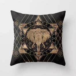 Elephant in Sacred Geometry Composition - Black and Gold Throw Pillow