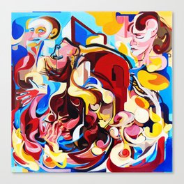 Expressive Abstract People Music Composition painting Canvas Print
