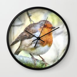 Christmas Robin Redbreast Winter Watercolor Wall Clock