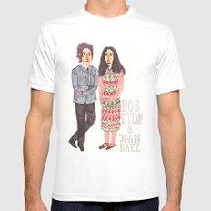Bob Dylan & Joan Baez White MEDIUM Mens Fitted Tee