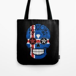 Sugar Skull with Roses and Flag of Iceland Tote Bag