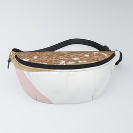Glittering golden marble geo Fanny Pack