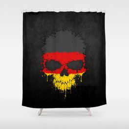 Flag of Germany on a Chaotic Splatter Skull Shower Curtain