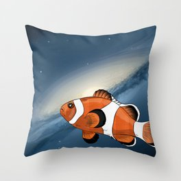 A clownfish in the universe Throw Pillow