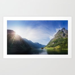 Sunrise over Fjord Village Art Print